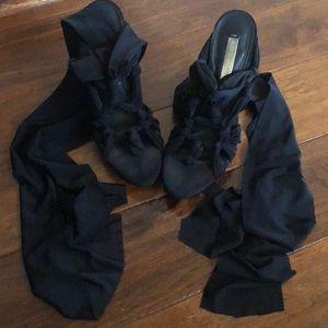 BCBGMaxAzria Black Fabric Tie Up Heels